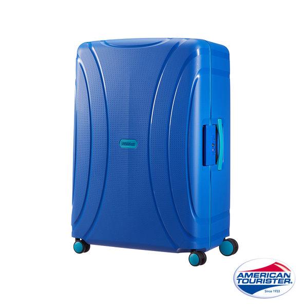 AT美國旅行者 25吋Lock N Roll PP硬殼三點式TSA鎖扣行李箱(藍)
