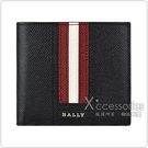 BALLY TRASAI銀字LOGO牛皮飾黑白條紋8卡對折短夾(黑)