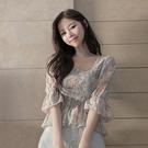 出清288 韓國風碎花喇叭袖裹胸收腰顯瘦襯衫短袖上衣