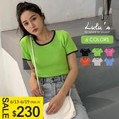 LULUS-Y配色包邊短版上衣-6色  【01190287】