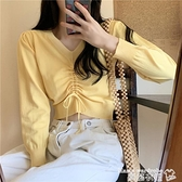 長袖T恤 秋季新款百搭韓版短款針織衫女純色抽繩修身顯瘦露臍v領長袖上衣  曼慕