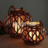 風燈燈籠庭院裝飾復古美式帶繩天然柳編燈籠編織家居裝飾古風燈籠 SUPER SALE YYS