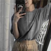 夏裝正韓女裝百搭寬鬆圓領套頭棉麻短袖t恤純色中長款打底衫上衣【快速出貨79折促銷】