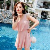 泳衣女新品分體裙式正韓保守遮肚顯瘦游學生純色平角溫泉泳裝