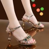 高跟鞋 一字帶扣水鑚女時裝涼鞋露趾潮夏季百搭仙女風高跟鞋細跟-Ballet朵朵