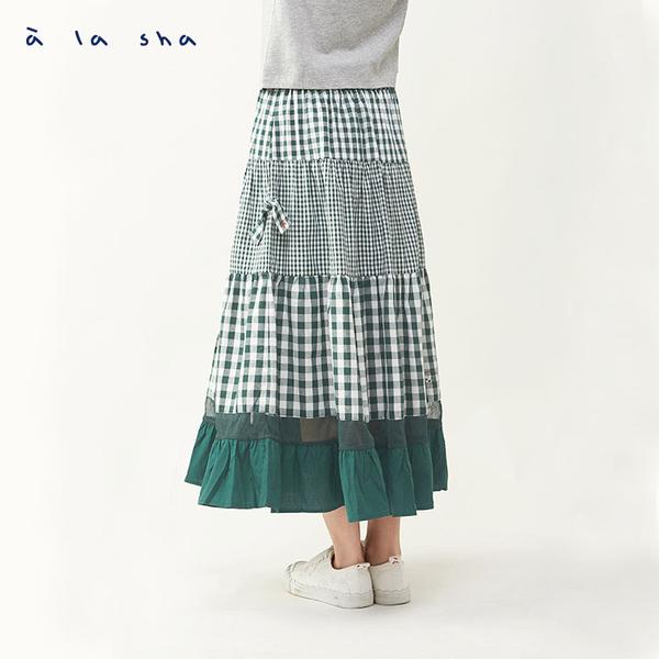 a la sha 格紋拼接網紗蛋糕裙