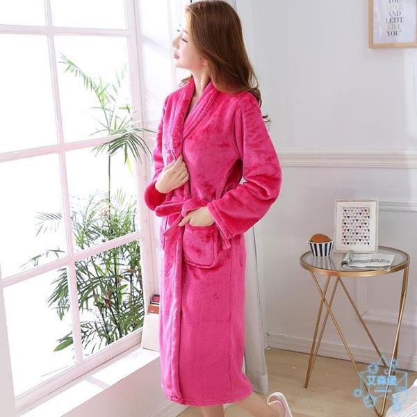 浴袍  加厚法蘭絨浴袍女大碼長款睡袍晨袍睡裙珊瑚絨睡衣男女秋冬季浴衣  艾森堡