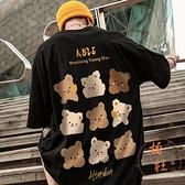 嘻哈小熊t恤男短袖街頭百搭五分袖【橘社小鎮】