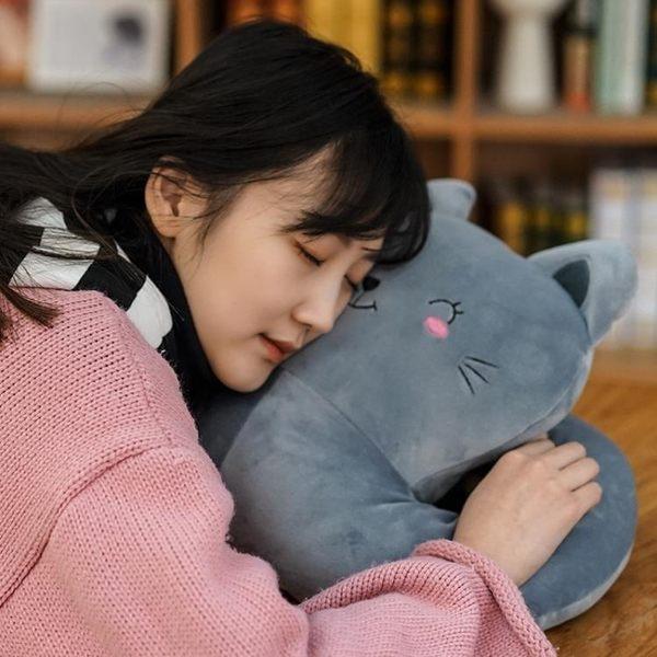 可愛貓午睡枕辦公室趴睡枕學生趴趴枕午休靠墊抱枕被子暖手小枕頭【完美生活館】