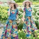 旅拍女裝民族風洋裝假兩件套2020波浪荷葉邊上衣長裙子棉麻寬鬆連身裙夏‧復古‧衣櫥