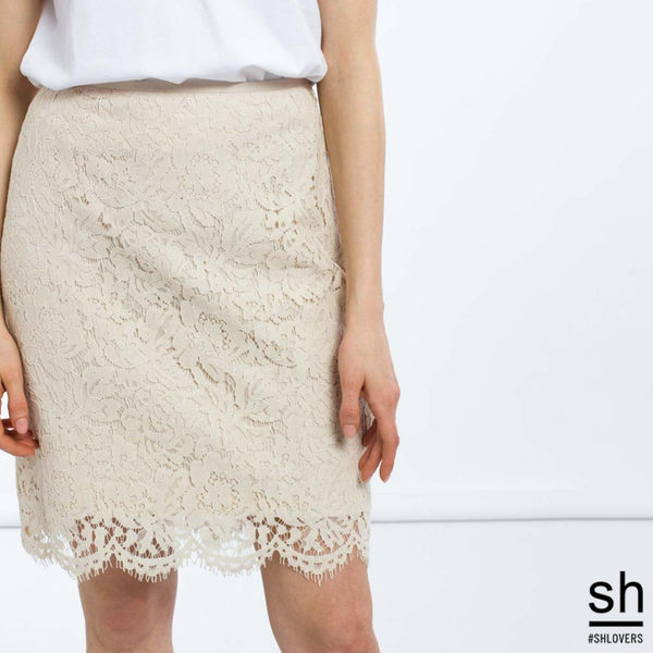 鉛筆裙 布蕾絲及膝窄裙/ SH