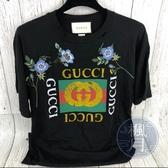 BRAND楓月 GUCCI 古馳 黑底 刺繡印花 LOGO 短袖T恤