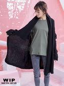新品2%    WIP  慵懶綁帶長版針織外套-黑  AW