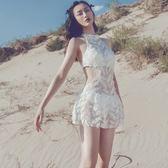 韓版連身裙式羽毛比基尼白色泳衣小胸聚攏顯瘦遮肚溫泉海邊蜜月女 【PINKQ】