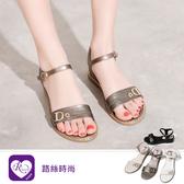 韓系簡約增高字母一字扣帶休閒平底涼鞋/4色/35-43碼 (RX1705-A-14) iRurus 路絲時尚