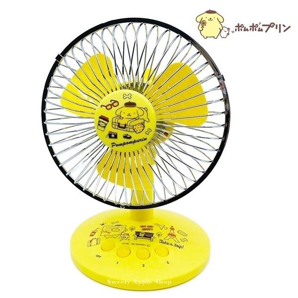 日本限定 三麗鷗 布丁狗 USB給電&電池式 三段式風力調節 擺頭式風扇 / 桌上型電風扇