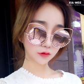 歐美潮鑲鑽太陽鏡貓眼女眼鏡偏光圓臉大框偏光墨鏡 〖korea時尚記〗