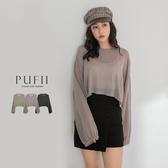 PUFII-針織上衣 微透膚泡袖短版針織上衣-0915 現+預 秋【CP19095】