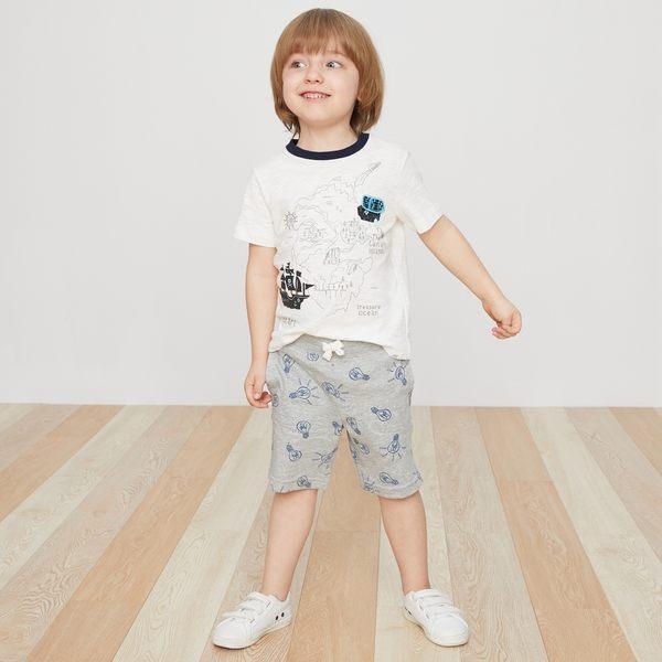 Gap男嬰幼童 印花鬆緊腰彈力針織短褲 419137-淺麻灰