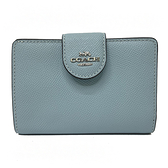 【COACH】新款經典LOGO鈔票零錢袋中夾(baby-藍)