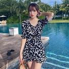 特惠連身泳裝 保守泳衣遮肚顯瘦仙女范溫泉lest裙式連體黑色2021新款韓國ins
