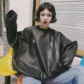 正韓港味復古印花套頭寬鬆原宿風bf皮衣外套女學生上衣潮『櫻花小屋』