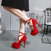 舞台走秀超高跟粗跟綁帶涼鞋恨天高單鞋性感女鞋細跟女 俏腳丫