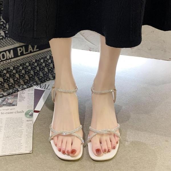 爆款粗跟涼鞋女夏大學生百搭仙女風氣質高跟鞋2021新款水鉆羅馬鞋