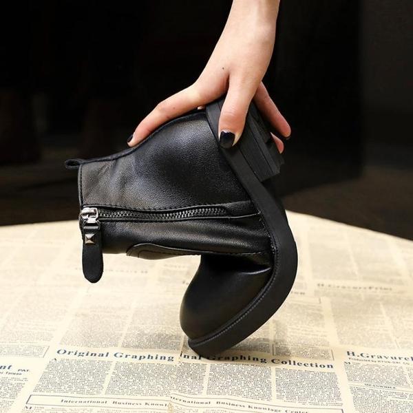 靴子女短靴秋冬季加絨黑色馬丁靴女英倫風皮鞋平底短筒女靴子