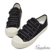 訂製鞋 魔鬼氈車線帆布餅乾鞋-黑色下單區