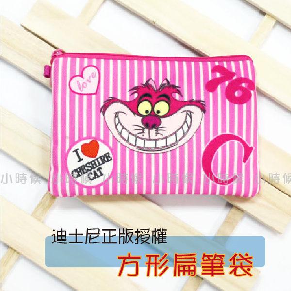 ☆小時候創意屋☆ 迪士尼 正版授權 直條妙妙貓 帆布 扁 筆袋 化妝包 零錢包 創意 禮物 長夾
