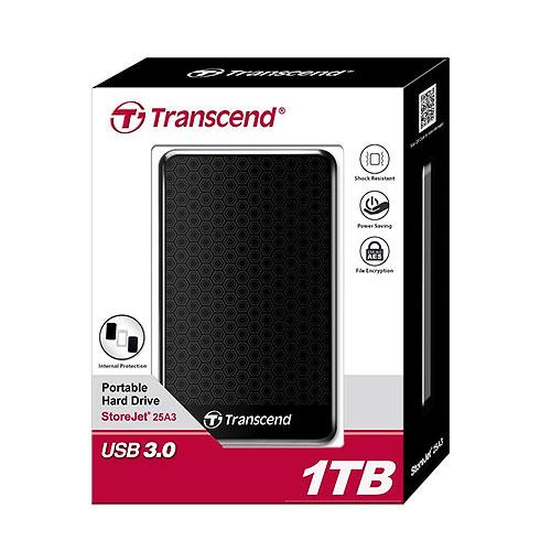 Transcend 創見 StoreJet 25A3 1T B TS1TSJ25A3K 黑色 USB3.0 2.5吋 行動 外接硬碟
