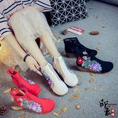 女鞋民族風鏤空蝴蝶刺繡繡花鞋牛筋底坡跟女單靴【萬聖節推薦】