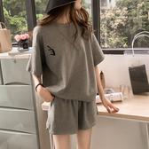 大尺碼套裝 2020新款韓版短袖短褲休閒運動服加肥加大碼兩件套