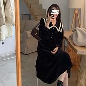 2021早春季新款女裝法式復古赫本設計感小眾高檔戰裙娃娃領洋裝