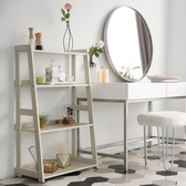 樂嫚妮 四層收納架 層架 書架 層櫃 A字收納-木紋白日式木質層架-寬版木紋白
