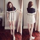 【GZ3E1】長版上衣 韓國拼接荷葉邊高腰連身裙 寬鬆娃娃裙 短裙 洋裝