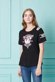 【 BETTY BOOP 】春夏品牌服飾特賣~貝蒂標章圖造型袖配條棉質上衣 NO.BS18213