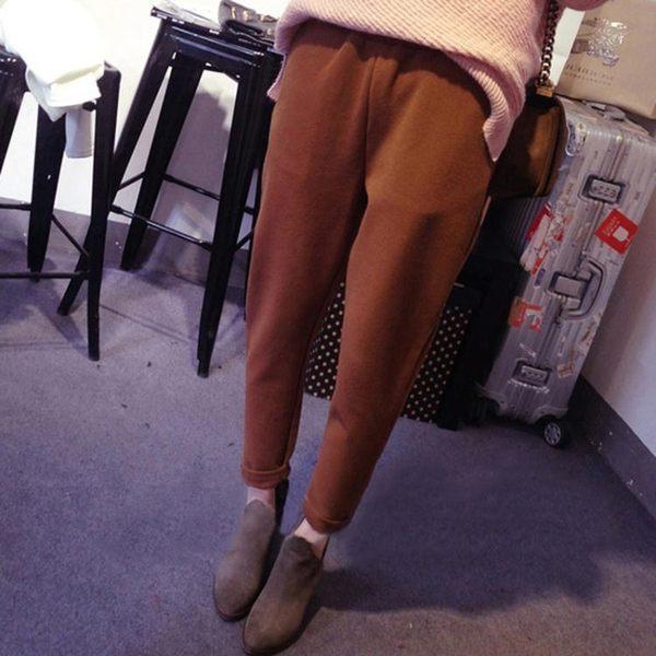 初秋新款女裝鬆緊腰百搭學生休閒直筒寬鬆顯瘦毛呢哈倫褲九分褲女CY潮流站
