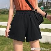 超火cec運動短褲女夏高腰休閒韓版寬鬆寬管熱褲黑色蹦迪褲子