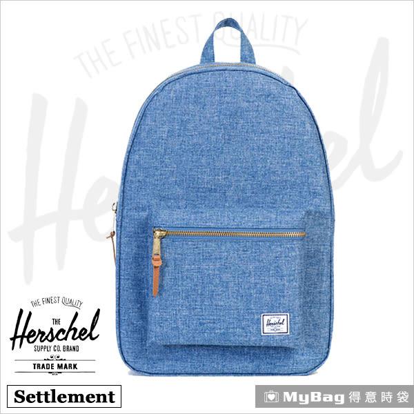 Herschel 後背包 單寧藍 金拉鍊系列15吋電腦後背包 Settlement-918 MyBag得意時袋