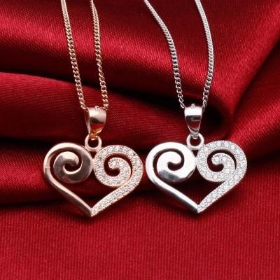 925純銀項鍊+鑲鑽吊墜-鏤空愛心生日情人節禮物女配件2色73df65【時尚巴黎】