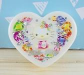 【震撼  】Hello Kitty 凱蒂貓KITTY 心形飾品盒寶石圖案S