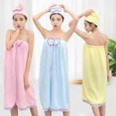 浴巾可穿超強吸水性感抹胸蕾絲純棉浴裙女