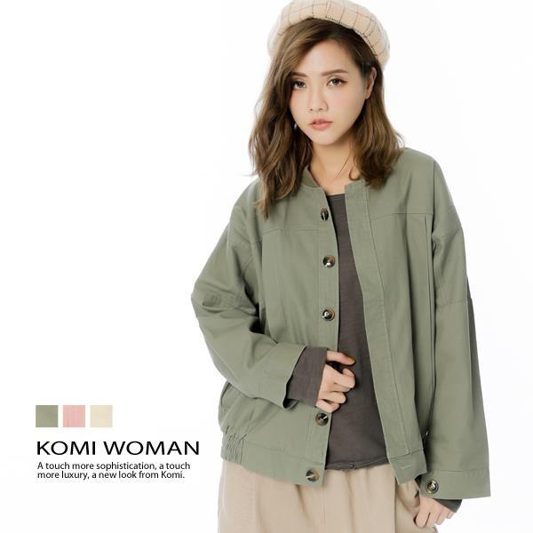 【南紡購物中心】KOMI-棉大口袋打褶造型棒球外套‧三色