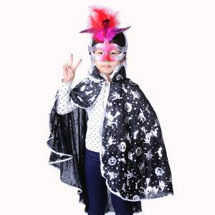 萬聖節服裝大人/兒童  裝銀南瓜披肩短披風+鵝毛面具140g
