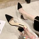 穆勒鞋尖頭半拖鞋女2021新款夏韓版粗跟包頭涼拖高跟網紅穆勒拖鞋女外穿 愛丫 新品