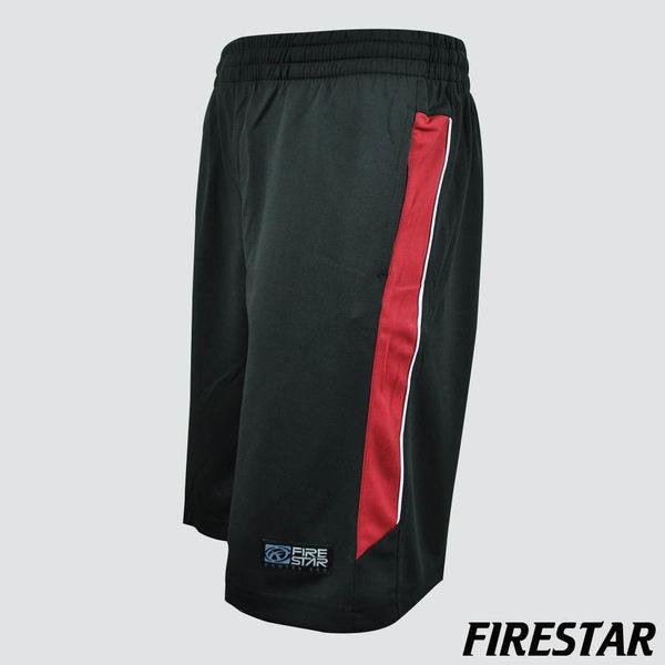 FIRESTAR-男性吸濕排汗撞色拼接籃球褲-黑/紅 B4903-40