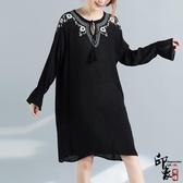 大尺碼洋裝實拍復古文藝范繡花純色長袖中長款連身裙