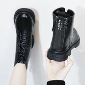 歐洲站2019秋冬繫帶後跟雙拉鍊網紅馬丁靴女短靴百搭厚底加絨潮款